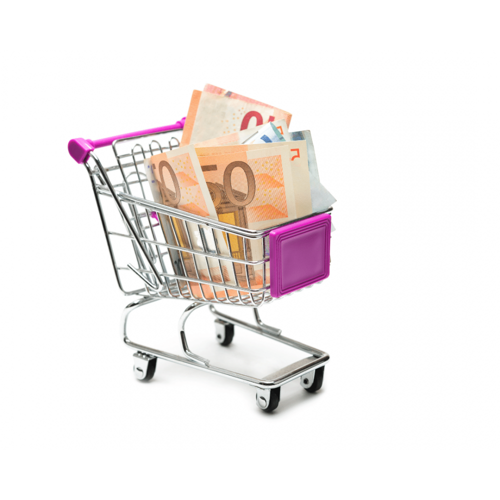 Tiny shopping cart filled with 50 euro notes