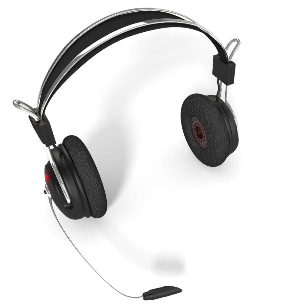 Telemarketer headset on white background